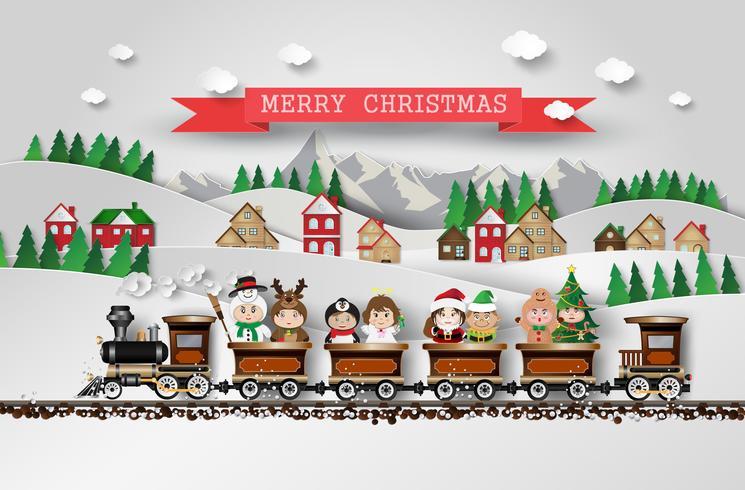 Navidad lindos niños vector