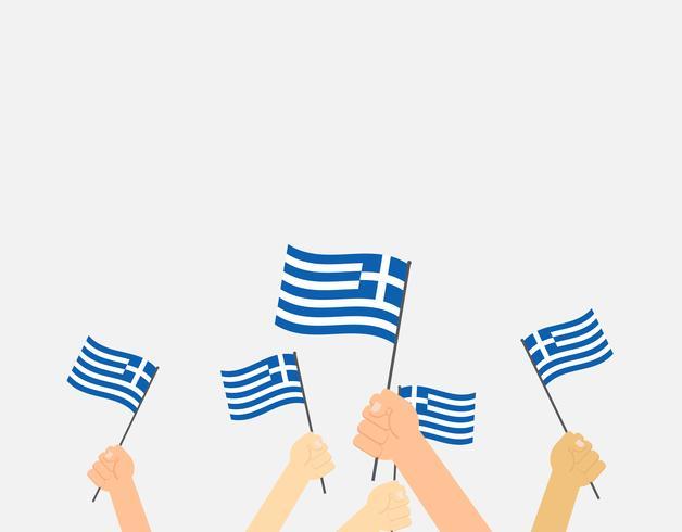 Vektor illustration händer som håller Greklands flaggor på bakgrunden