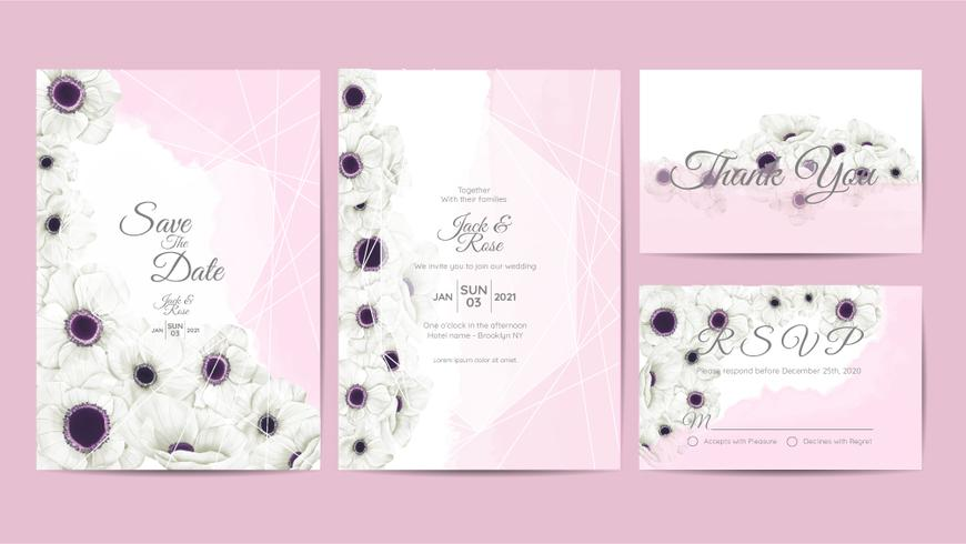 White Anemone Flowers Watercolor Wedding Invitation Template. Hand Drawing Flower and Branches Save the Date, Greeting, Thank You, and RSVP Cards Multipurpose vector