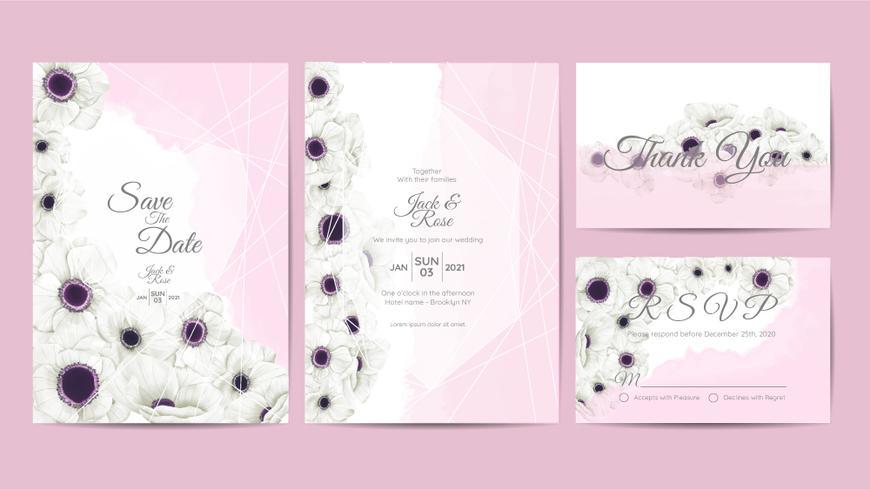 Weiße Anemone blüht Aquarell-Hochzeits-Einladungs-Schablone. Die Hand, die Blume und Niederlassungen zeichnet, retten das Datum und grüßen, danken Ihnen und die UAWG-Karten, die vielseitig sind