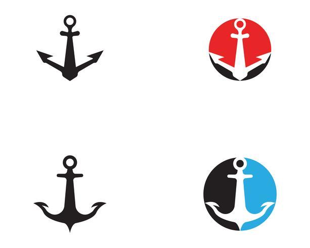 Iconos de vector de plantilla de logotipo y símbolo de anclaje