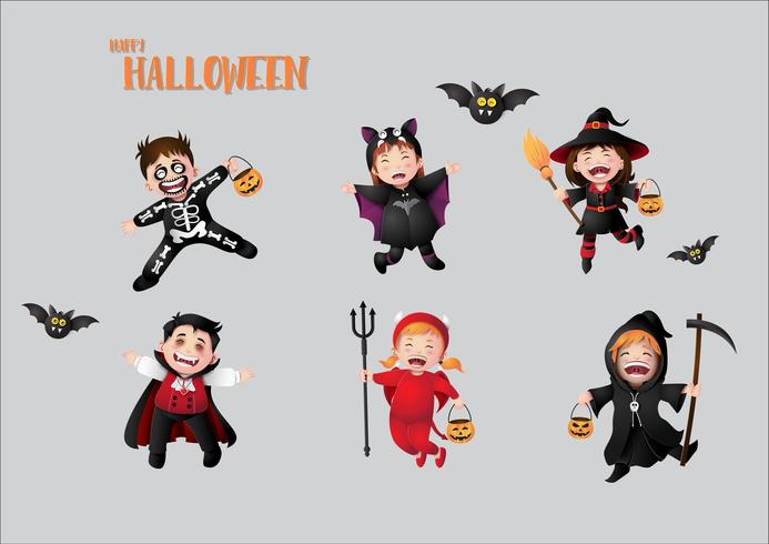 children in halloween costumes. vector