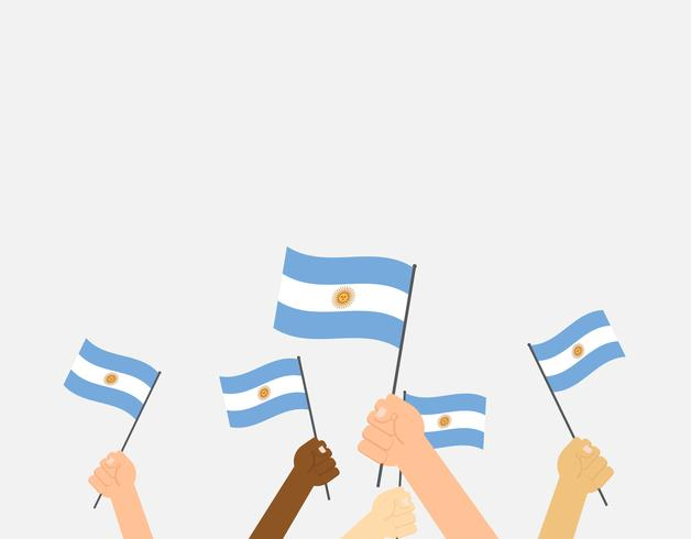 Vector illustration hands holding Argentina flags on white background