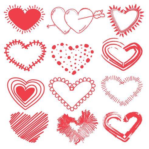 Doodles set Valentijnsdag harten. Hand getrokken schets vectorillustratie. vector