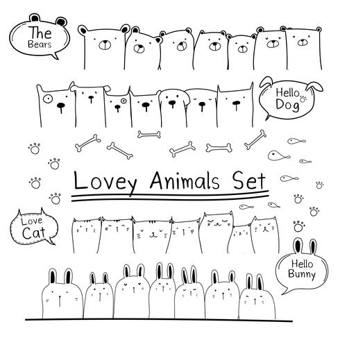 Dibujado a mano Doodle lindo conjunto de animales. Incluye oso, gato, conejito y perros. Ilustracion vectorial vector