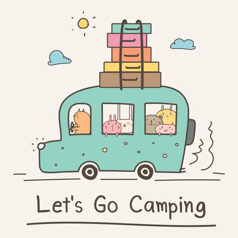 Let's Go Camping Concept. Animal lindo dibujado mano en Van Vector Illustration.