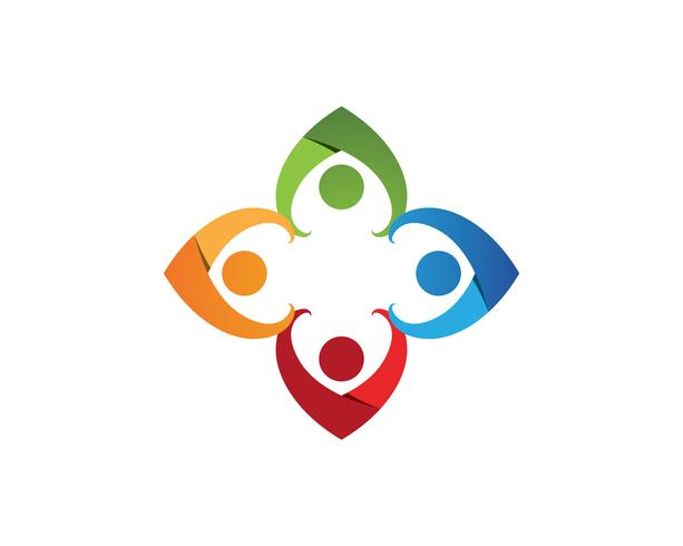 Modèle de logo et de symboles de soins communautaires vecteur