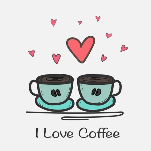 Ich liebe Kaffee-Hand gezeichnete Vektor-Illustration. Gekritzel-Kunst.