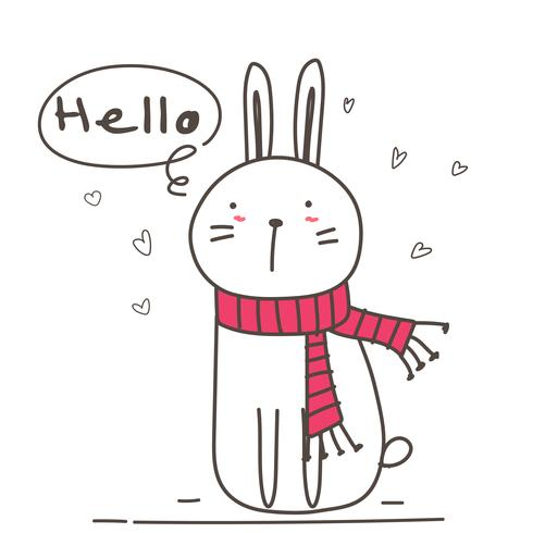 Cute Bunny With Say Hello For Your Design. Vector Illustration