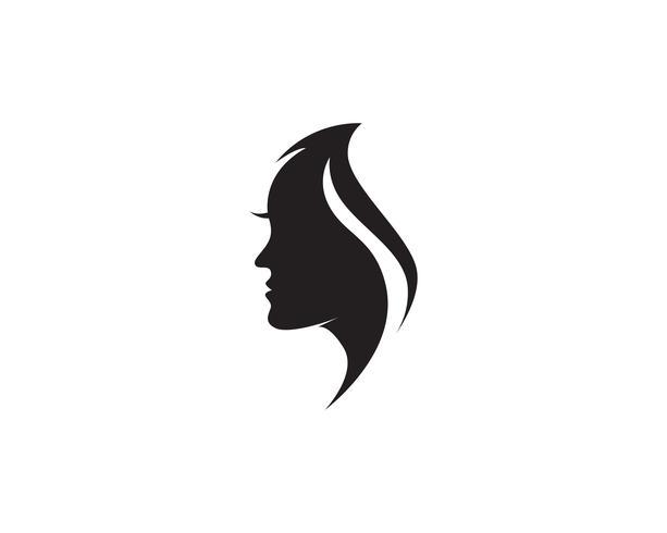 vetor de logotipo e símbolos de mulher e rosto de cabelo