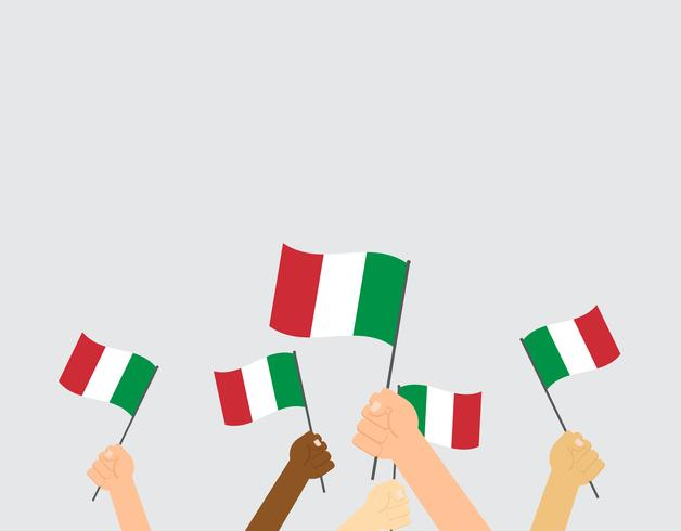 Vector illustration hands holding Italy flags on background