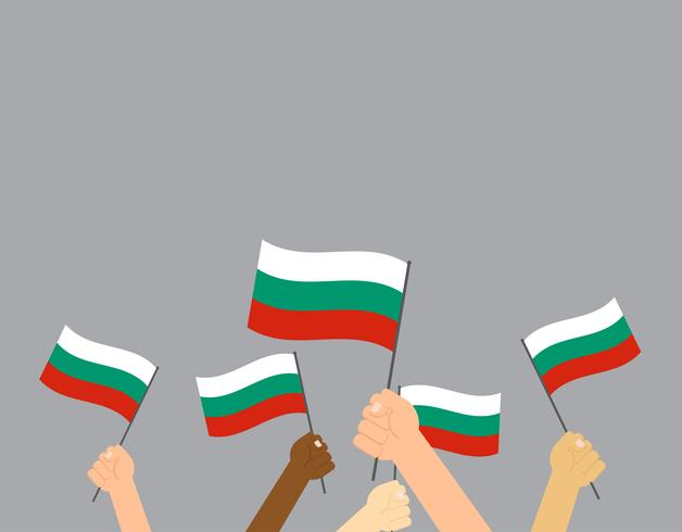 Mano sosteniendo banderas de Bulgaria aisladas sobre fondo gris