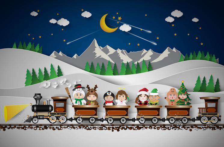 Christmas cute kids vector