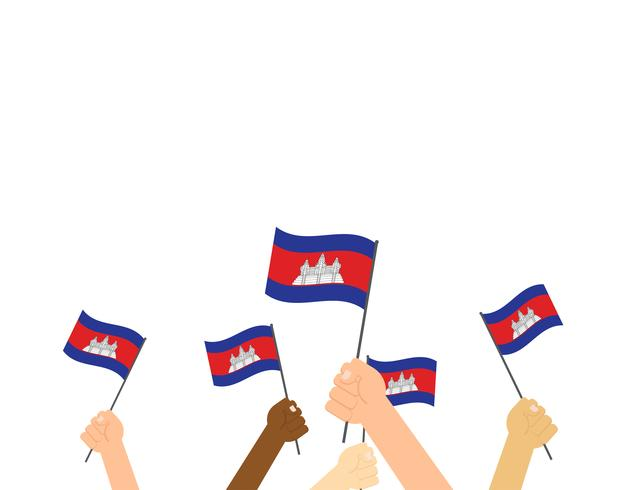 Vector illustration hands holding Cambodia flags on white background