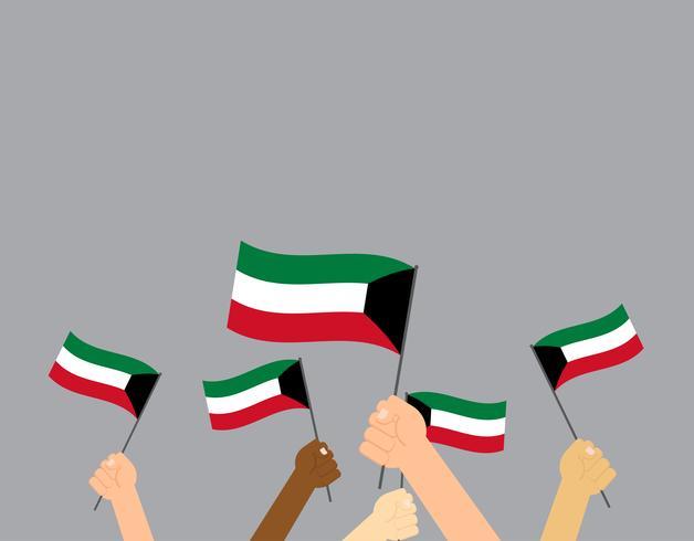Mãos de ilustração vetorial segurando bandeiras do Kuwait isoladas no fundo cinza vetor