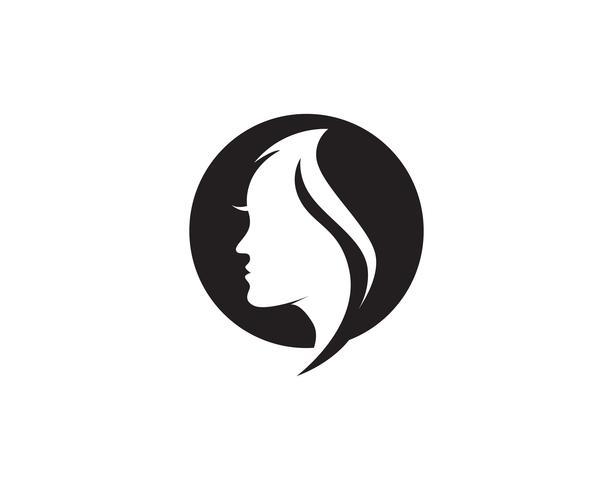 vettore della donna e del logo dei capelli e della donna dei capelli
