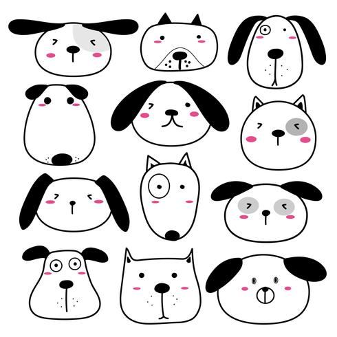 Hand Drawn Cute Dog Face Characters Set Vector Illustration