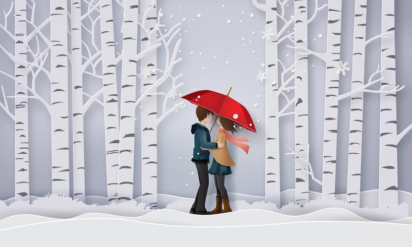 Illustration de l'amour et de la saison d'hiver