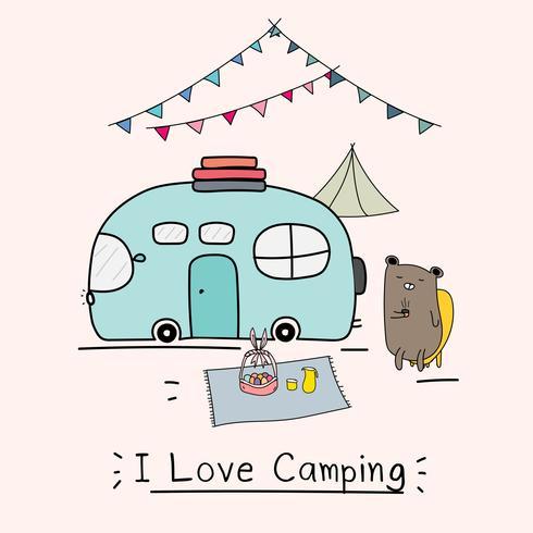 Amo el concepto de camping con un lindo oso y un auto de camping. Ilustración vectorial para los niños.