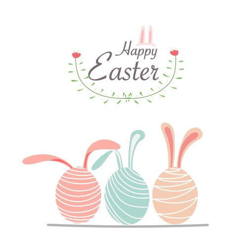 Happy Easter Day Greeting Card With Easter Eggs. Hand Drawn Vector Illustration.