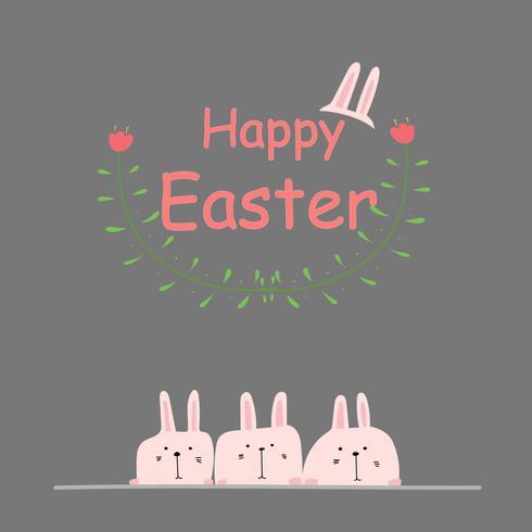 Frohe Ostern Grußkarte. Hand gezeichneter Bunny And Flower Element Design Vector Illustration.