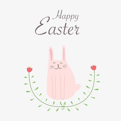Glad påskhälsningskort. Handdragen kanin och blomma element design vektor illustration.