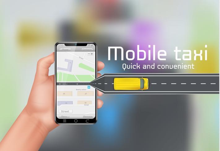 Fondo di concetto di vettore di taxi mobile