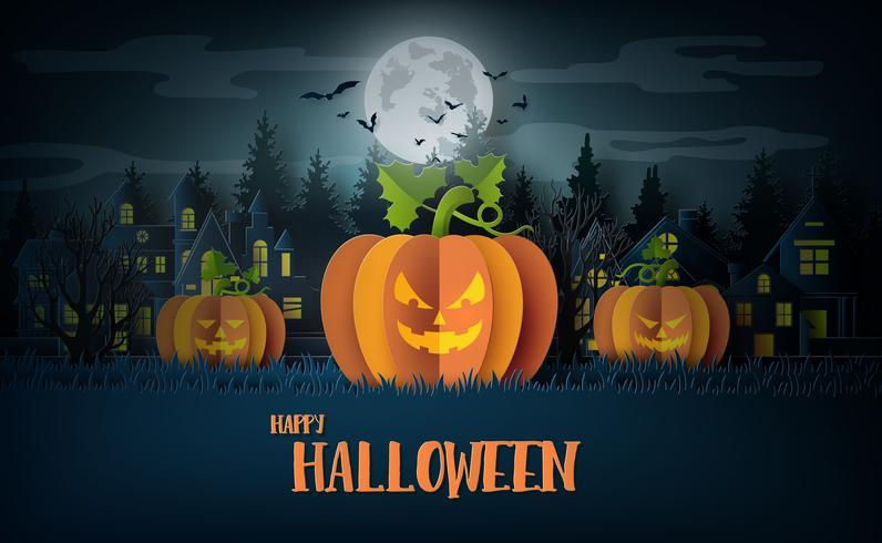 Fiesta de Halloween con calabazas miedas