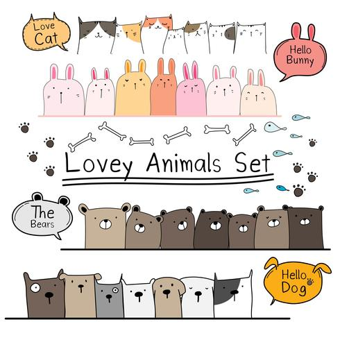Hand Drawn Doodle Cute Animal Set Include Bear Cat Bunny And Dogs
