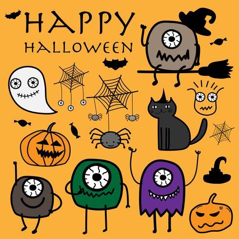 Ejemplo dibujado mano del vector de Halloween de los monstruos