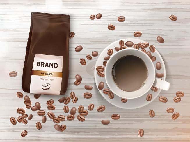 Banner di promozione vettoriale con tazza di caffè e fagioli