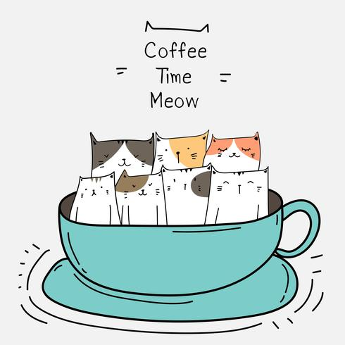 Cute Cats In The Cup. Coffee Time Vector Illustration.