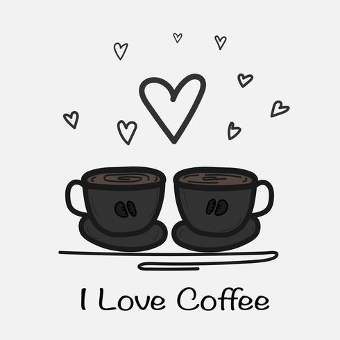Eu amo a ilustração tirada mão do vetor do café. Doodle Art.