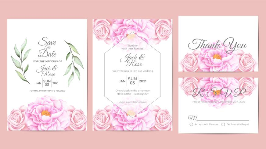 Beautiful Watercolor Floral Wedding Invitation Cards