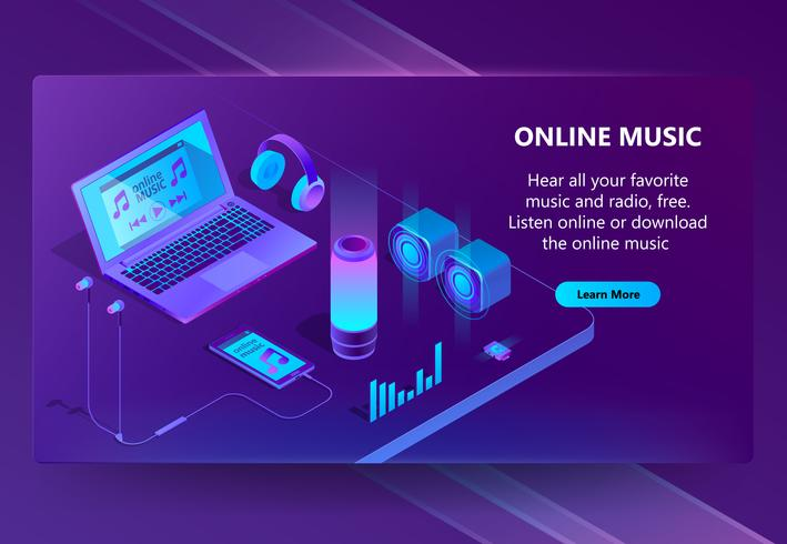 Online music vector isometric concept background