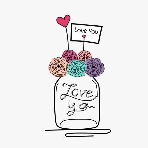 Main dessiner carte de mariage avec pot de maçon de fleurs.