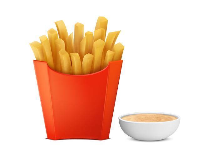 Vector papas fritas en caja de papel, mayochup