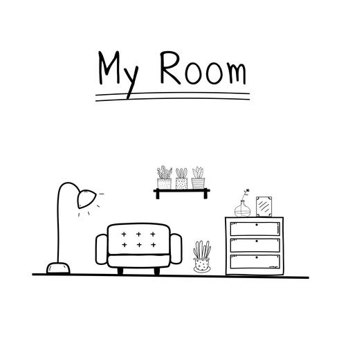 Mitt rum. Doodle Living Room Vector Illustration.