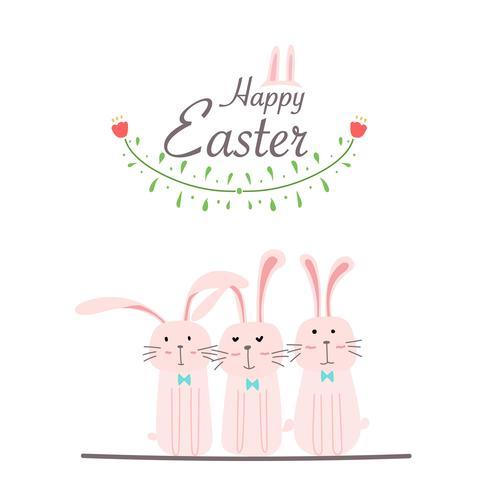 Buona Pasqua Greeting Card. Illustrazione disegnata a mano di vettore di progettazione dell'elemento del fiore e del coniglietto.