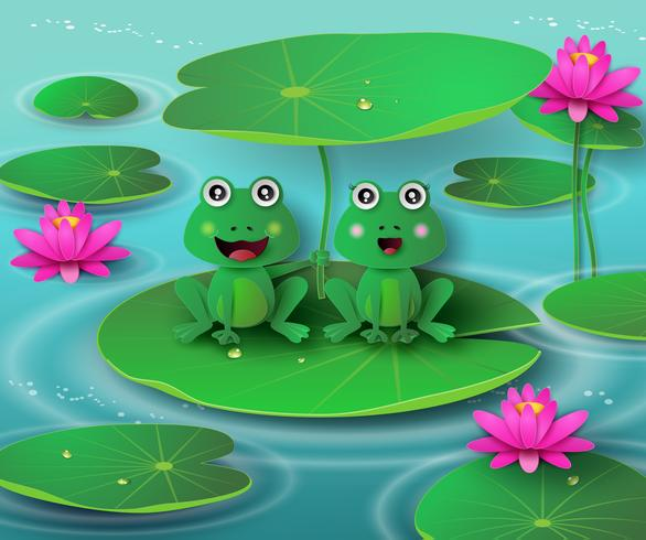 frog in the pond. vector