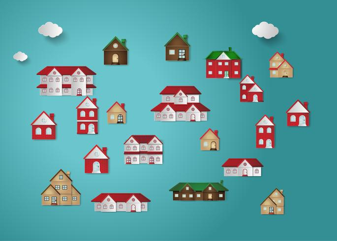House paper cut set vector