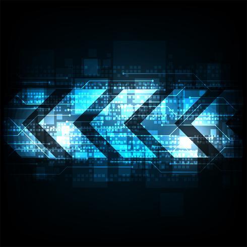 Pfeil im Technologiekonzept auf einem dunkelblauen Hintergrund.