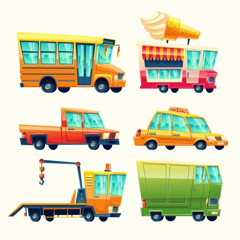 Public and urban passenger transport vector cartoon vehicles colorful isolated icons set