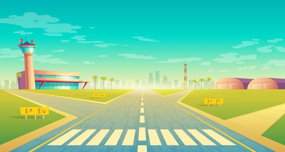 Vector landing strip for airplanes, terminal near