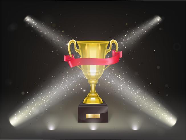 Vector 3d realistico brillante tazza d'oro sul palco