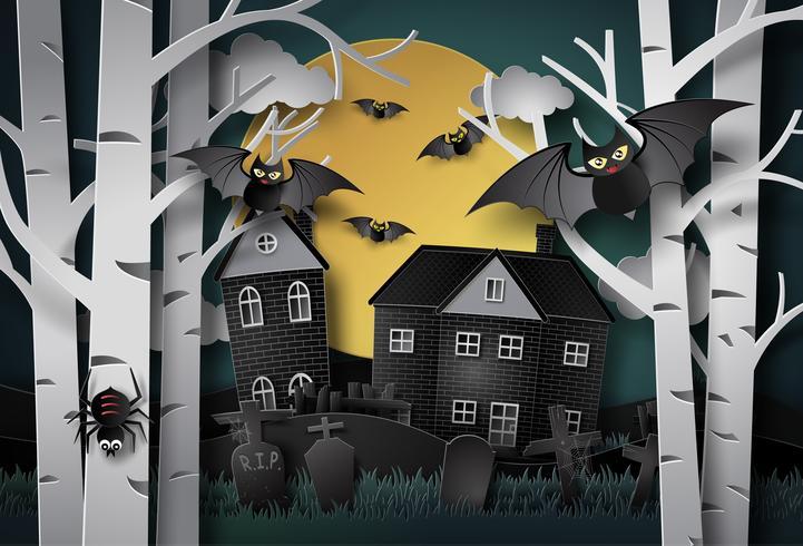 Gelukkige Halloween-groetkaart. vector