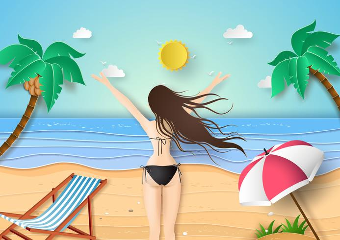 young girl in black bikini