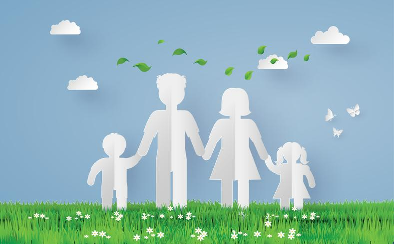 paper family on the grass fiel vector