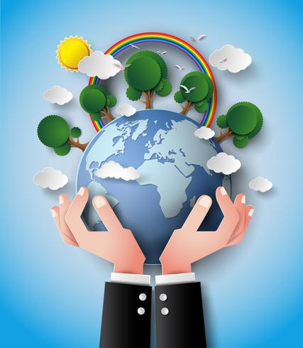 Green Eco Earth and hand . vector