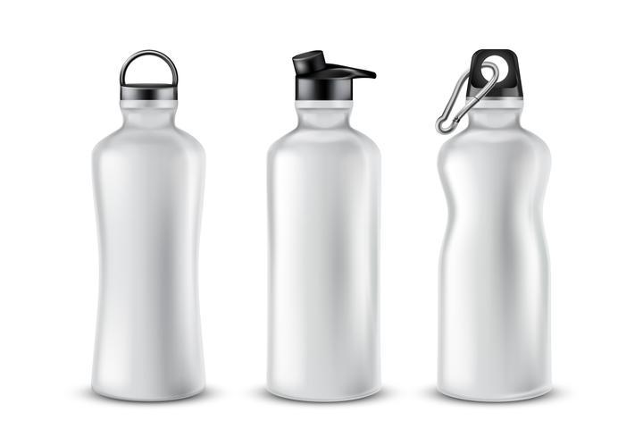 Vektor uppsättning plast sportflaskor för drycker